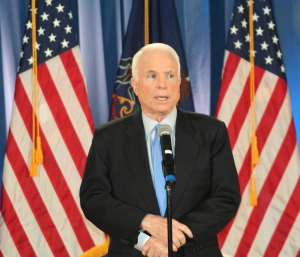 McCain looking very presidential at his press conference in Jake Nevin before Hardball